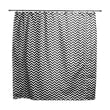 Chooty & Co Zig Zag Candy Standard Cut Corded Cotton Shower Curtain; White/Black