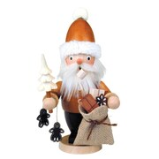 Christian Ulbricht Mini Natural Wood Finish Mini Santa with Tree Incense Burner