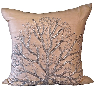 Debage Inc. Bling Wild Tree Throw Pillow; Champagne