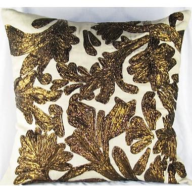 Design Accents Lurex Floral Linen Throw Pillow; Copper