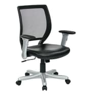 Office Star Woven Mesh Back Chair with Flip Padded Arms; Leather