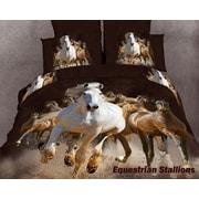 Dolce Mela Horse Lovers Equestrian Stallions 6 Piece Duvet Cover set; King