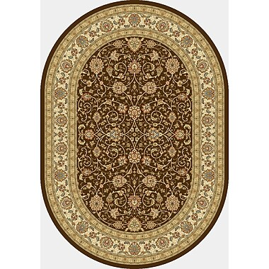 Dynamic Rugs Ancient Garden Chocolate/Ivory Area Rug; Oval 5'3'' x 7'7''
