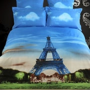 Dolce Mela Eiffel Tower Paris Egyptian Cotton 6 Piece Duvet Cover Set; King
