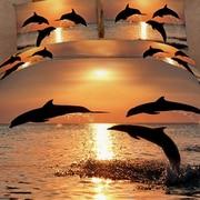 Dolce Mela Pacific Sunset Dolphins 6 Piece Duvet Cover Set; King