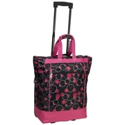 Everest Polka Dot Rolling Shopping Tote; Magenta/Plum Bubbles