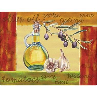 Magic Slice 9.5'' x 12.5'' Olive Oil and Garlic Design Cutting Board