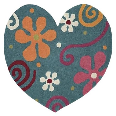 Dynamic Rugs Fantasia Heart Light Turquoise Area Rug; Novelty 3' x 3'