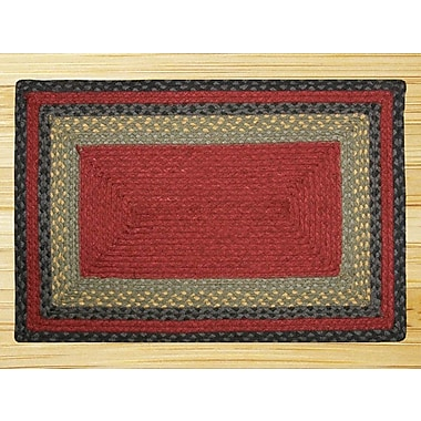 EarthRugs Burgundy/Olive/Charcoal Braided Area Rug; Oval Runner 2' x 6'