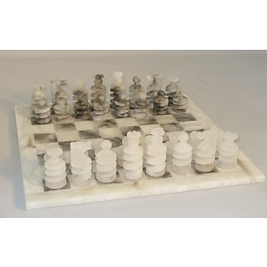 Scali Spiral Alabaster Chess Set in Grey / White