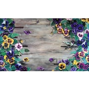 Custom Printed Rugs Weather Wood Pansy Doormat