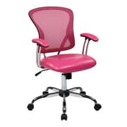 Office Star Ave Six 17.5'' Mesh Peyton Task Chair with Faux Leather Seat; Pink