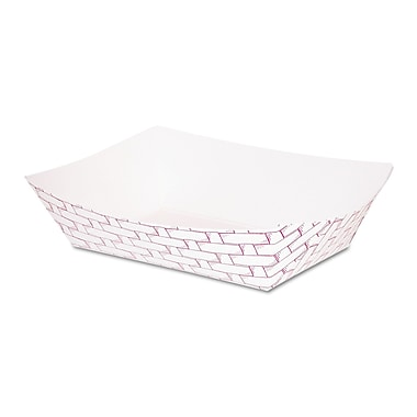Boardwalk 1 lbs. Weave Paper Food Tray, Red/White, 1000/Pack