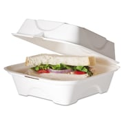 Eco-Products® 6 x 6 x 3 Sugarcane Hinged Lid 1-Compartment Clamshell Food Box, White, 500/Pack