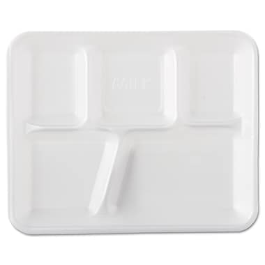Genpak® 5-Compartment Foam School Tray, White, 500/Pack