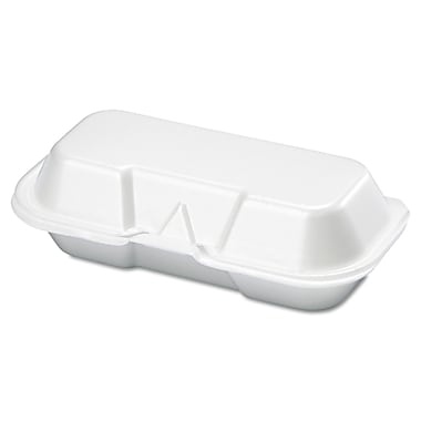 Genpak® 1-Compartment Hot Dog Foam Hinged Container, White, 500/Pack