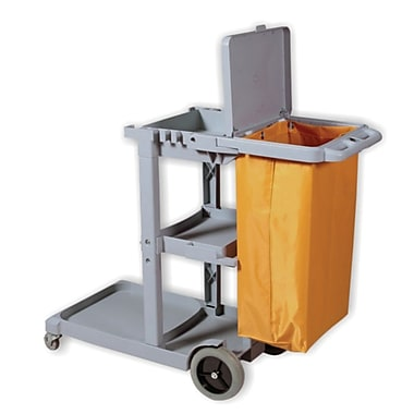 Duraplus Janitor Cart with Lid and Yellow Vinyl Bag