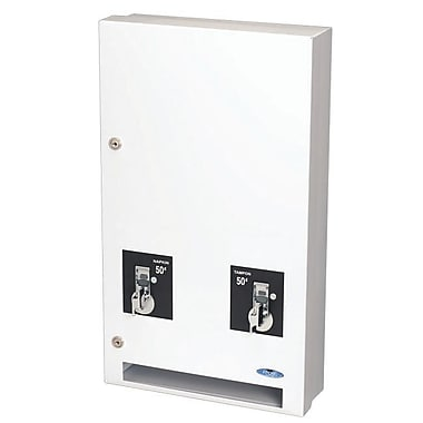 Frost Surface Wall Mounted Double Sanitary Napkin/Tampon Dispenser, $1 Mechanism