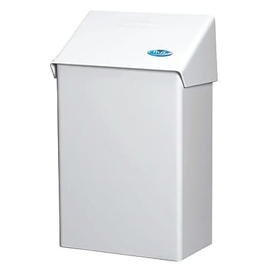 Frost Surface Wall Mounted Sanitary Napkin Disposal Receptacle, White Epoxy Finish
