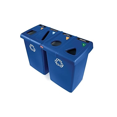 Rubbermaid – Poste de recyclage GluttonMD à 2 sections, bleu