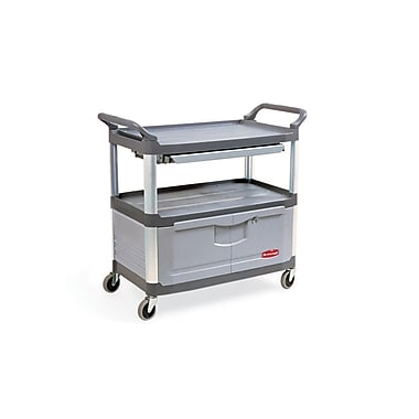 Rubbermaid Xtra™ Utility Cart with Lockable Doors and Sliding Drawers, 2 Shelves