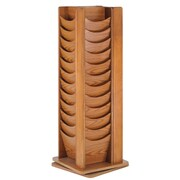 Buddy Products 48-Pocket Rotating Wood Literature Display Rack, Medium Oak