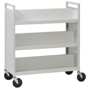 Buddy Products® 6 Slant Shelves Library Book Cart, Platinum
