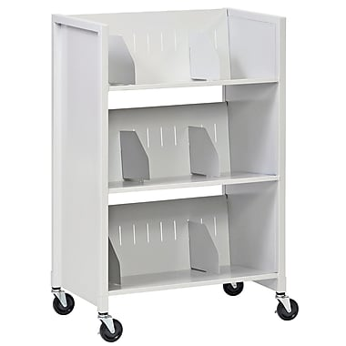 Buddy Products® 3 Tier Steel File Folder Medical Cart, Platinum