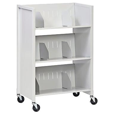Buddy Products® 3 Tier Steel File Folder Medical Cart, Platinum