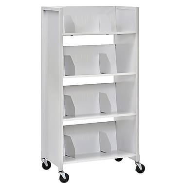 Buddy Products® 4-Tier Steel File Folder Medical Cart, Platinum