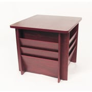 "Buddy Products® 21"" x 23 1/4"" Square Wood Reception Table With Side Literature Rack, Mahogany"