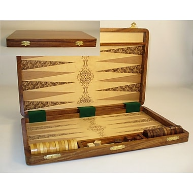 Pleasantime Etched Wood Backgammon Board Game