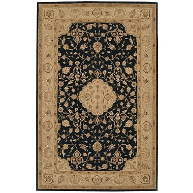 Nourison Heritage Hall Black/Gray Floral Area Rug; 5'6'' x 8'6''
