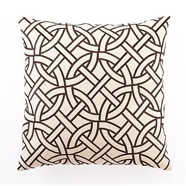 D.L. Rhein Embroidered Circle Link Linen Throw Pillow; Brown