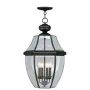 Livex Lighting Monterey 4 Light Outdoor Hanging Lantern; Black