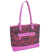 Parinda Allie Quilted Fabric with Croco Faux Leather Tote Bag; Red Floral Pink