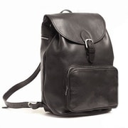 Aston Leather Large Backpack with Front Pocket; Tan