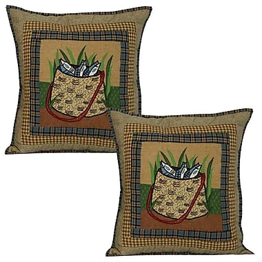 Patch Magic Gone Fishing Bag Cotton Throw Pillow (Set of 2)
