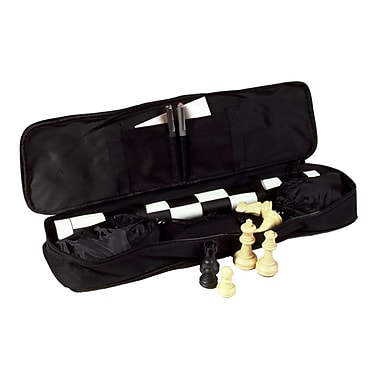 Sunnywood Standard Tournament Chess Set; Black/White Mat with Black Bag