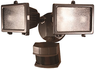 Heath-Zenith Motion Activated 2 Light Flood Light; Bronze Finish WYF078276012027