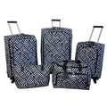 Jenni Chan Signature 5 Piece Luggage Set; Black / White