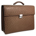 Jack Georges Genuine Ostrich Double Gusset Leather Briefcase; Tobac