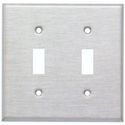 Morris Products Two Gang and Toggle Switch Metal Wall Plates in Stainless
