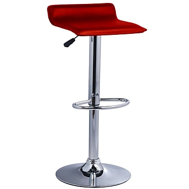 Pangea Home Pax Adjustable Height Bar Stool (Set of 2); Red