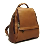 Le Donne Leather U Zip Mid Size Backpack; Tan