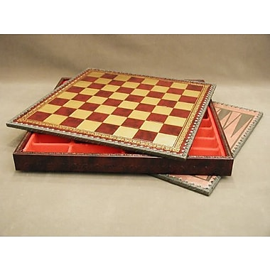 Ital Fama 14'' Pressed Leather Chest Chess Board in Black / Burgundy