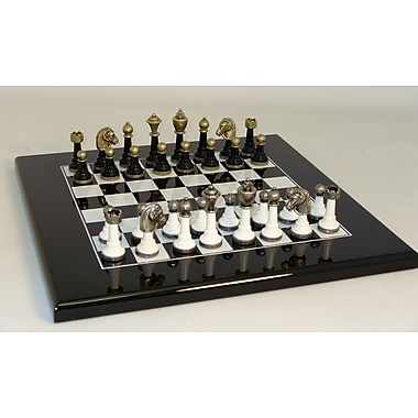 Ital Fama Wood and Metal Chess Set in Lacquered Black / White