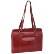 McKlein USA Limited Edition Series Glenview Leather Ladies' Laptop Tote Bag; Red