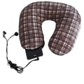 Nek Pillow Neck Pillow Super Deluxe with Hoody; Brown Plaid