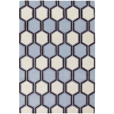 Chandra Inhabit Designer Blue/Off White Area Rug; 5' x 7'6''
